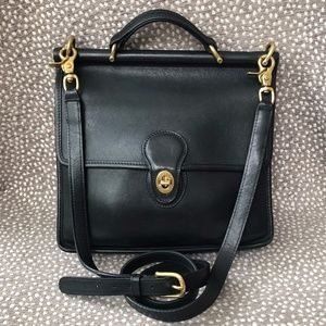 Rare Vintage Black Coach Willis Station Bag